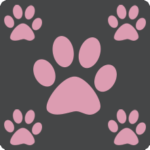 Charcoal with Pink Paws