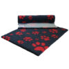 Vetfleece Non-Slip Multi Paws Charcoal with Red Paws